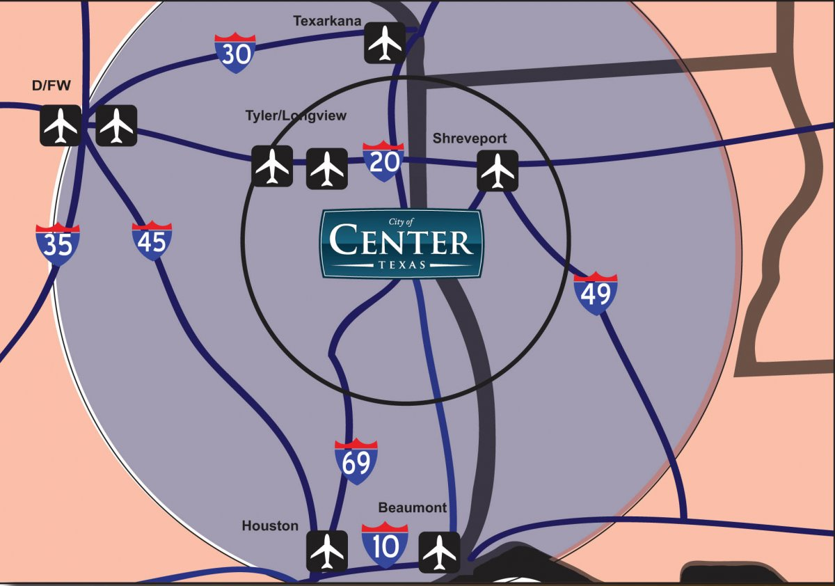 Map of airport access from Center, Texas