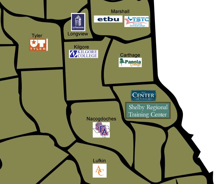 Map of colleges and universities in the greater Shelby County area
