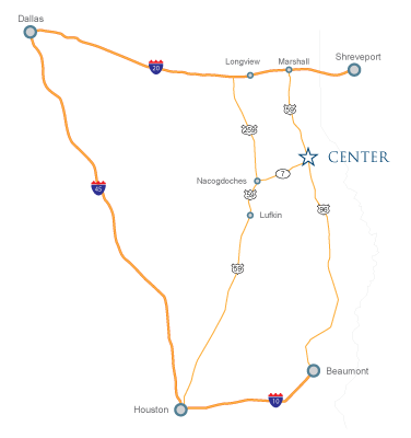 Area map of Center, Texas, including major highways and cities.