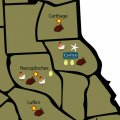 Map of food and poultry locations around Center, Texas